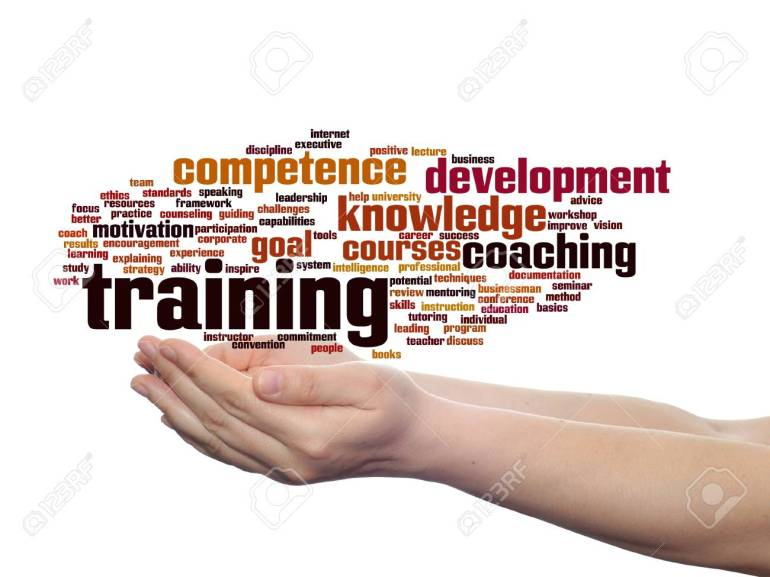 Training, coaching or learning, study round word cloud in hands